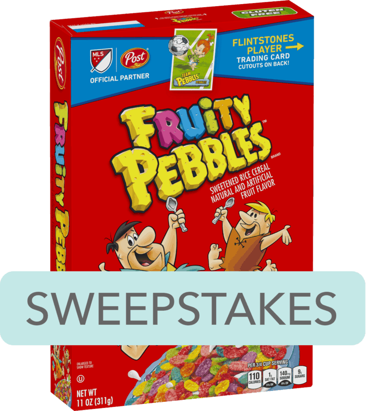 $0.50 for Post® FRUITY PEBBLES™ Cereal. Offer available at multiple stores.