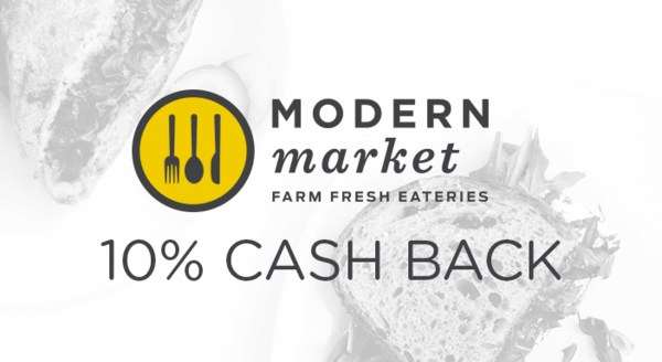 $0.00 for Modern Market (expiring on Thursday, 11/08/2018). Offer available at Modern Market.