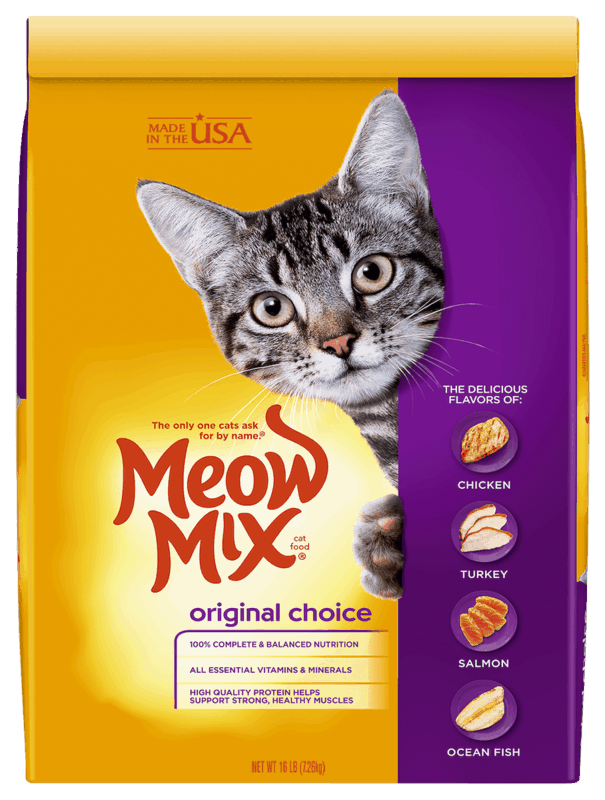 $2.50 for Meow Mix® Dry Food - Large bag. Offer available at multiple stores.