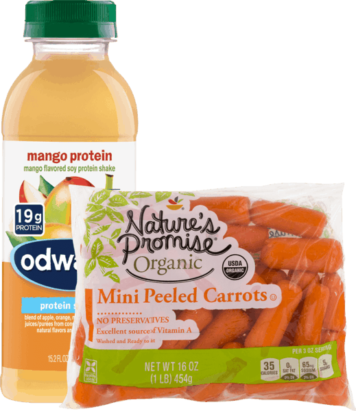 $1.75 for Odwalla® & Nature's Promise® Organic Baby Cut Carrots Combo. Offer available at Stop & Shop, Martin's (IN, MI), Giant (DC,DE,VA,MD), GIANT (PA,WV,MD,VA), MARTIN'S.