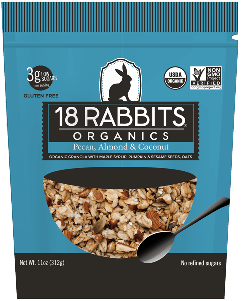 $0.75 for 18 Rabbits® Organic Granola and Granola Cereal (expiring on Thursday, 03/09/2017). Offer available at multiple stores.