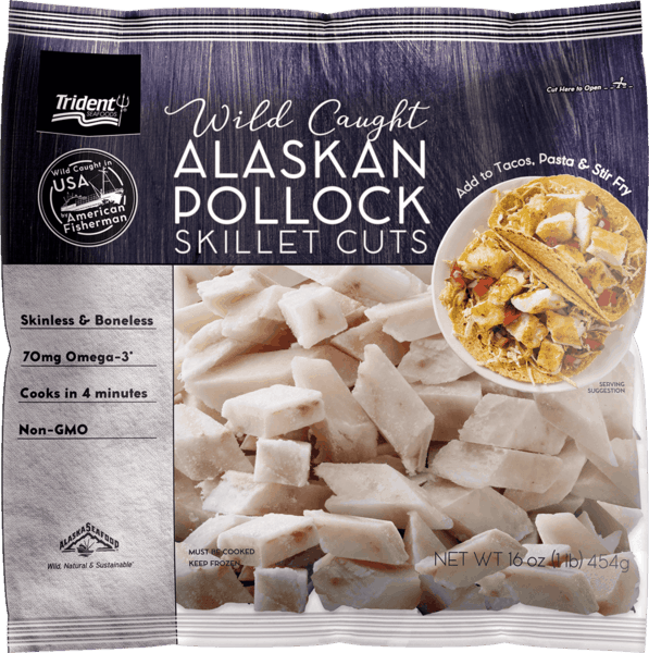 $1.00 for Trident Seafoods® Alaskan Pollock Skillet Cuts (expiring on Wednesday, 10/02/2019). Offer available at multiple stores.