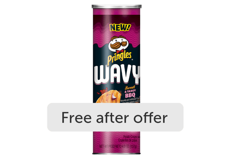 $1.44 for Pringles Wavy (expiring on Saturday, 06/06/2020). Offer available at Walmart, Walmart Grocery.