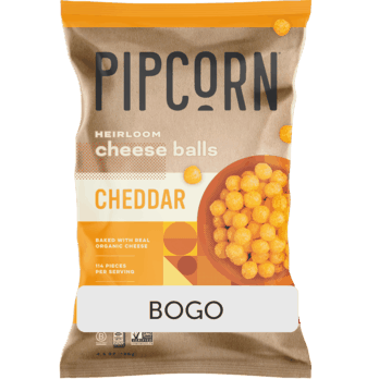 $3.49 for Pipcorn Cheese Balls (expiring on Saturday, 08/21/2021). Offer available at Kroger.