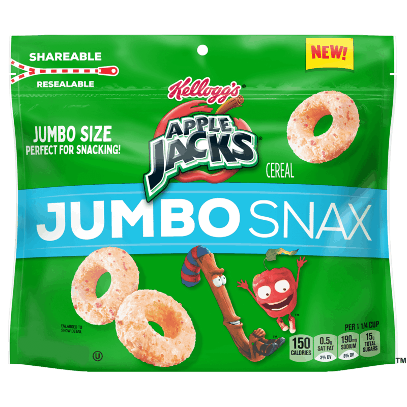 $2.00 for Kellogg's Apple Jacks Jumbo Snax. Offer available at Walmart, Walmart Pickup & Delivery.