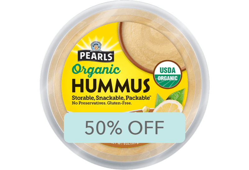 $2.00 for Pearls Organic Hummus (expiring on Friday, 05/01/2020). Offer available at Big Y Foods, Lunds & Byerlys.