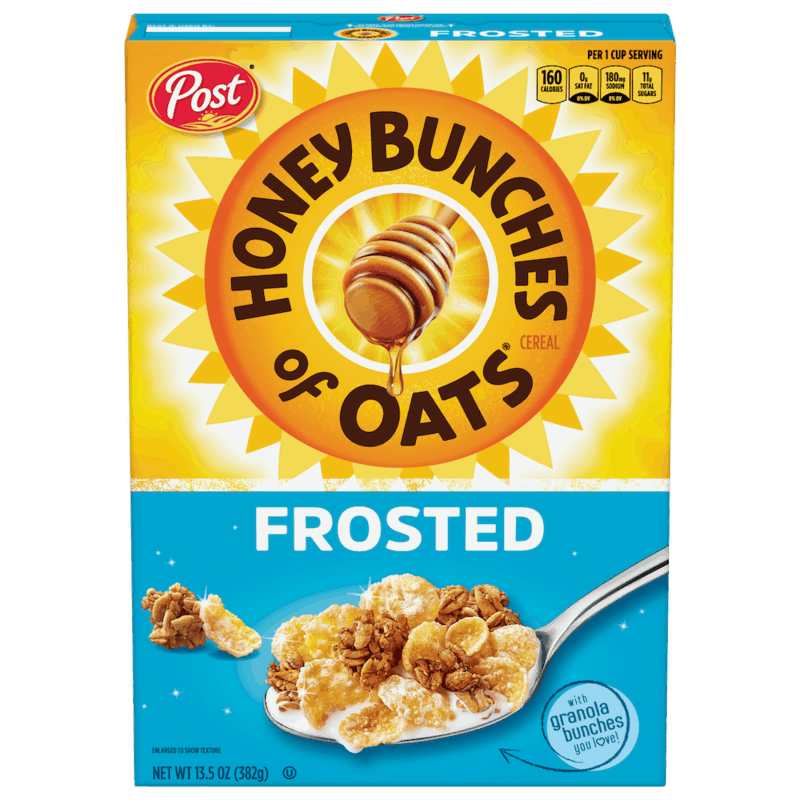 $0.50 for Post Honey Bunches of Oats Frosted (expiring on Friday, 04/30/2021). Offer available at multiple stores.