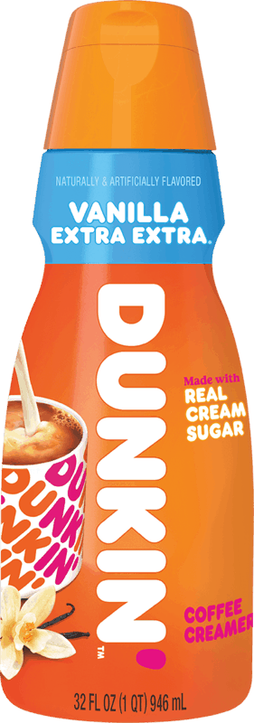 $1.00 for Dunkin' Vanilla Extra Extra® Coffee Creamer (expiring on Sunday, 10/24/2021). Offer available at multiple stores.