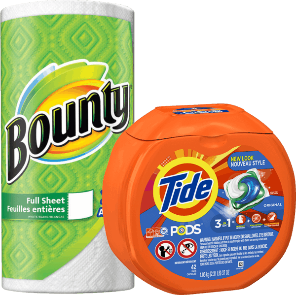 $2.00 for Tide® PODS™ & Bounty Paper Towel Combo (expiring on Monday, 09/18/2017). Offer available at Walmart.