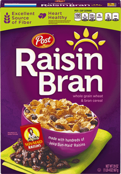 $0.50 for Post® Raisin Bran Cereal (expiring on Monday, 04/02/2018). Offer available at Target.