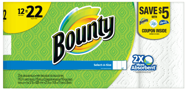 $0.50 for Bounty® Paper Towels (expiring on Thursday, 08/02/2018). Offer available at Walmart.