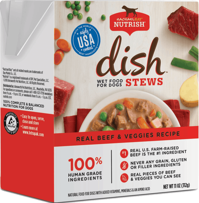 $0.50 for Rachael Ray™ Nutrish® Dish® Stew Wet Dog Food (expiring on Monday, 03/16/2020). Offer available at multiple stores.