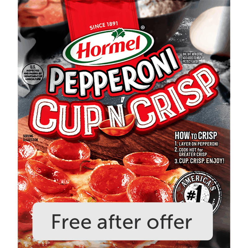 $3.29 for HORMEL® Pepperoni Cup N' Crisp (expiring on Thursday, 12/02/2021). Offer available at multiple stores.