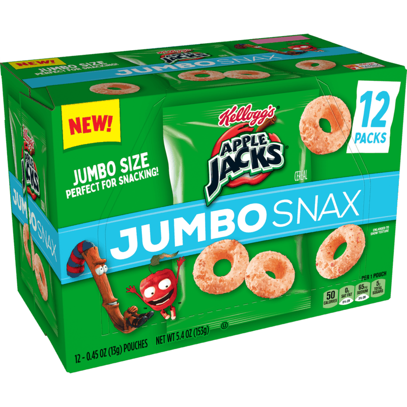 $2.50 for Kellogg's Apple Jacks Jumbo Snax. Offer available at Walmart, Walmart Pickup & Delivery.