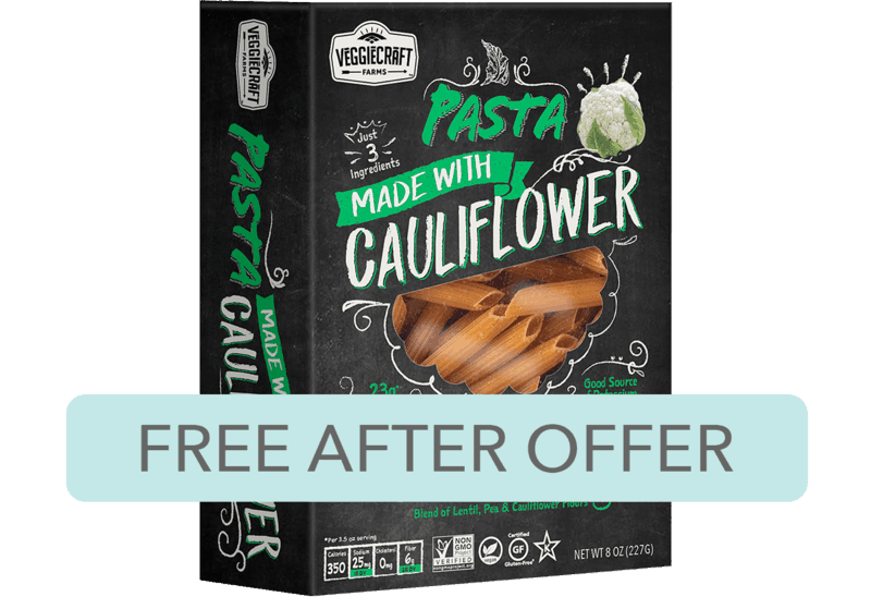 $2.98 for Veggiecraft Farms Pasta Made with Cauliflower (expiring on Saturday, 04/04/2020). Offer available at Walmart.