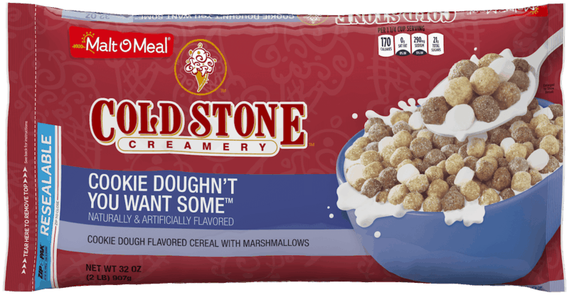 $1.00 for Cold Stone Creamery® Cookie Doughn't You Want Some™ Cereal (expiring on Thursday, 04/02/2020). Offer available at Walmart.