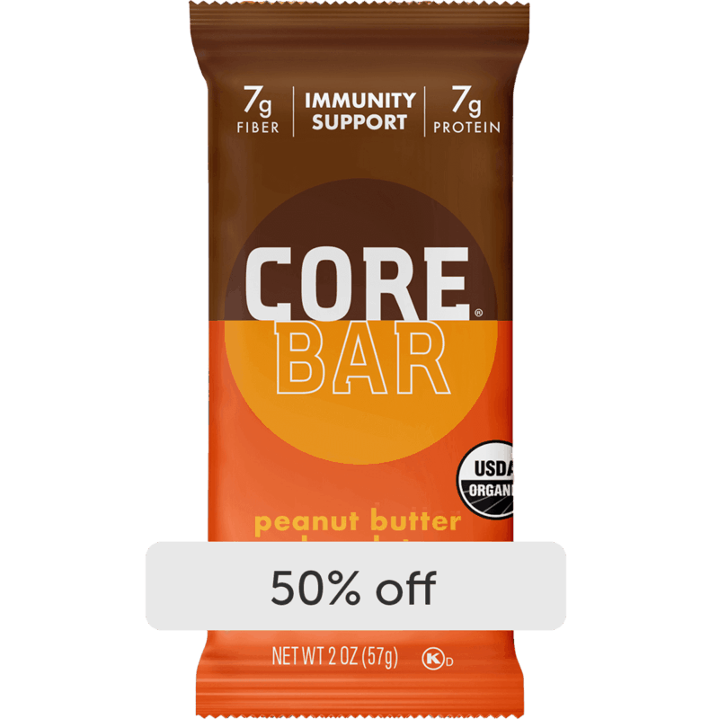 $1.25 for CORE Bar Peanut Butter Chocolate Refrigerated Plant-Based Immunity Bar with Probiotics (expiring on Sunday, 06/27/2021). Offer available at multiple stores.