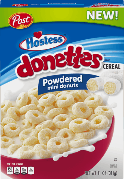 $0.75 for Post® Hostess™ Donettes™ Cereal (expiring on Monday, 09/02/2019). Offer available at multiple stores.