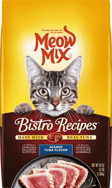 $1.00 for Meow Mix® Bistro Recipes™ dry cat food. Offer available at multiple stores.