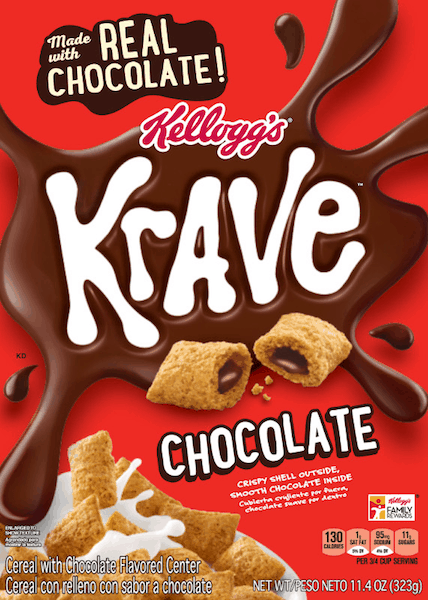 $0.65 for Kellogg's® Krave® Cereal (expiring on Sunday, 05/05/2019). Offer available at multiple stores.