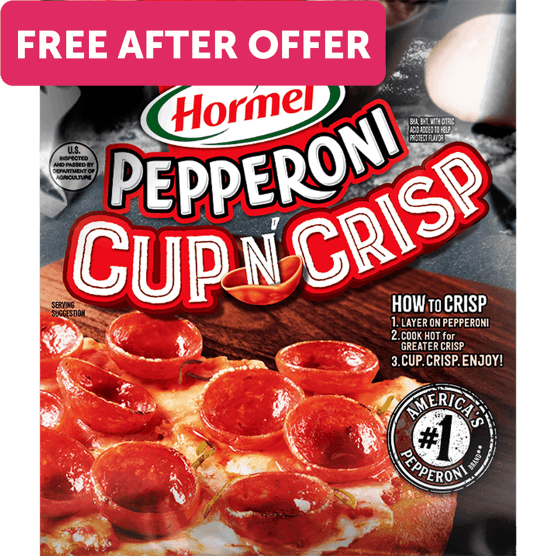 $3.29 for HORMEL® Pepperoni Cup N' Crisp. Offer available at multiple stores.