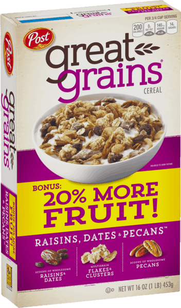 $0.15 for Post® Great Grains® Raisins Dates & Pecans Cereal (expiring on Friday, 08/02/2019). Offer available at Publix.