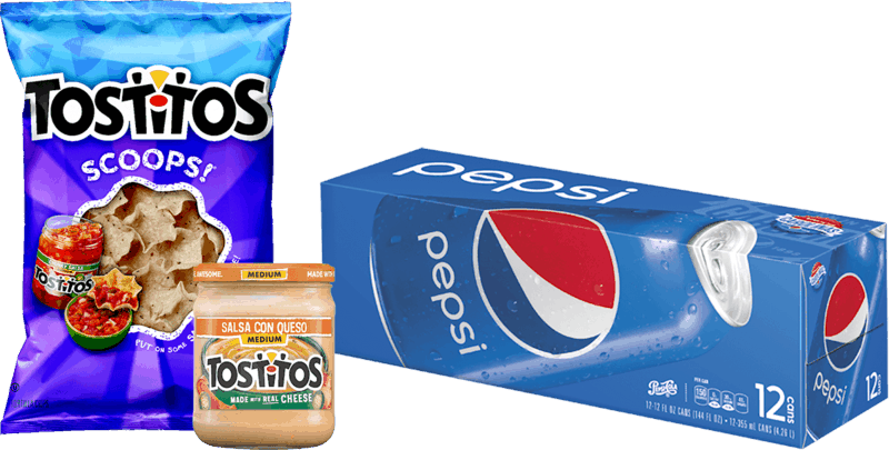 $1.00 for TOSTITOS® & Pepsi® Combo (expiring on Wednesday, 01/01/2020). Offer available at multiple stores.