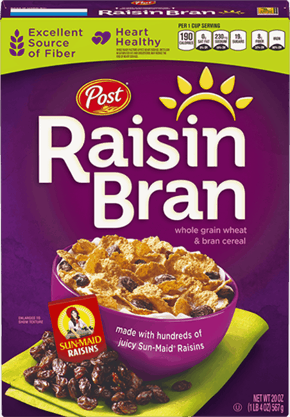 $0.35 for Post® Raisin Bran (expiring on Wednesday, 01/02/2019). Offer available at multiple stores.