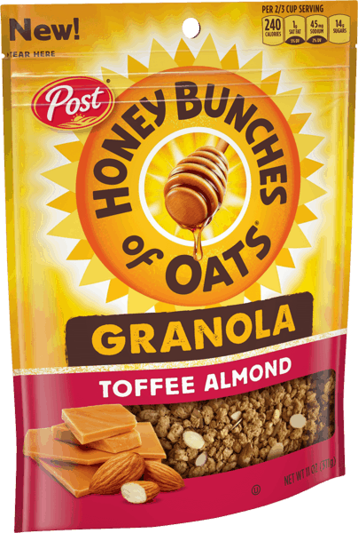 $1.00 for Post® Honey Bunches of Oats® Toffee Almond Granola. Offer available at Walmart.