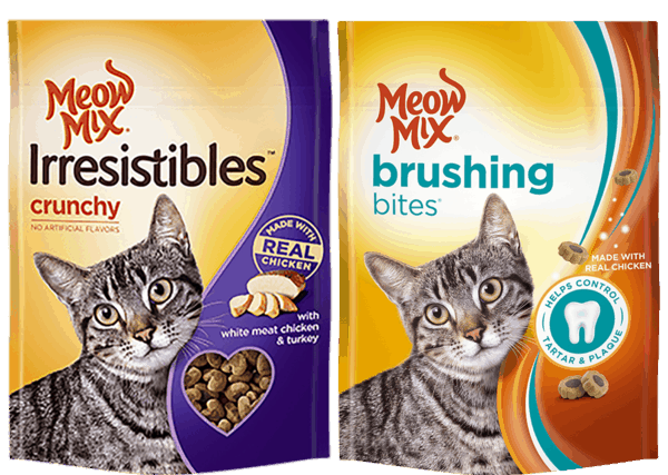 $0.50 for Meow Mix® Treats (expiring on Sunday, 05/06/2018). Offer available at multiple stores.