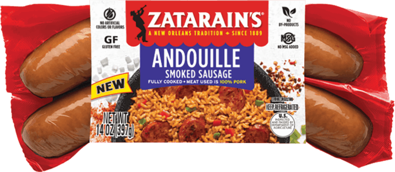 $0.75 for Zatarain's® Andouille Smoked Sausage. Offer available at multiple stores.