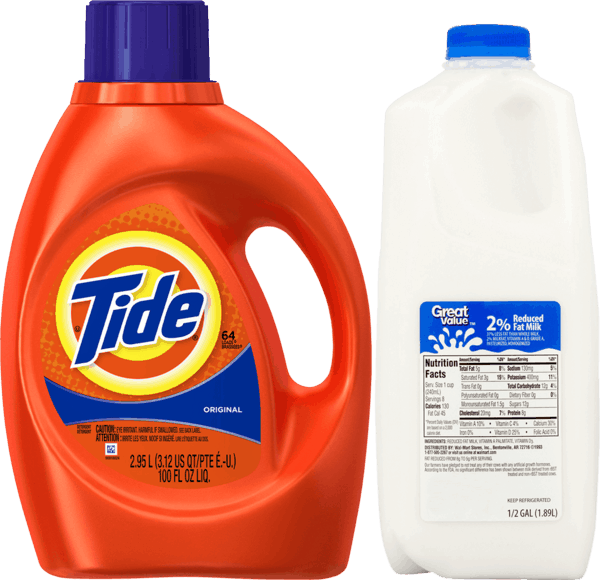 $1.50 for Tide® Laundry Detergent & Great Value™ Milk Combo (expiring on Monday, 09/18/2017). Offer available at Walmart.
