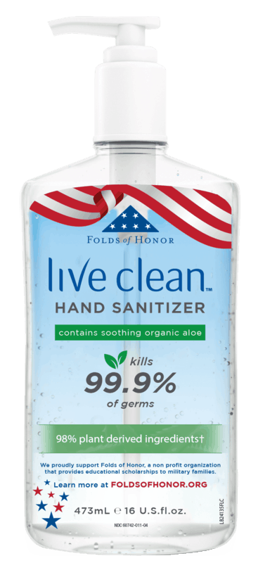 $0.50 for Live Clean Hand Sanitizer (expiring on Sunday, 11/29/2020). Offer available at Publix, Whole Foods Market®, Albertsons, Sprouts Farmers Market.