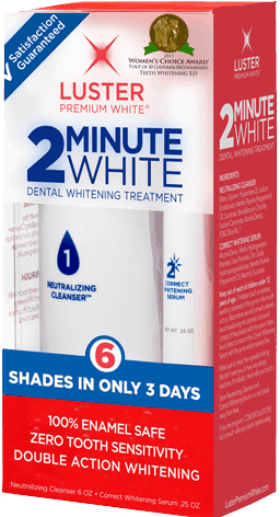 $2.50 for Luster 2 Minute White Teeth Whitening Kit. Offer available at Target, Walmart, Walgreens, Rite Aid, Albertsons.
