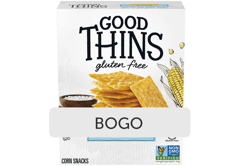 $2.56 for Good Thins. Offer available at Walmart, Walmart Pickup & Delivery.