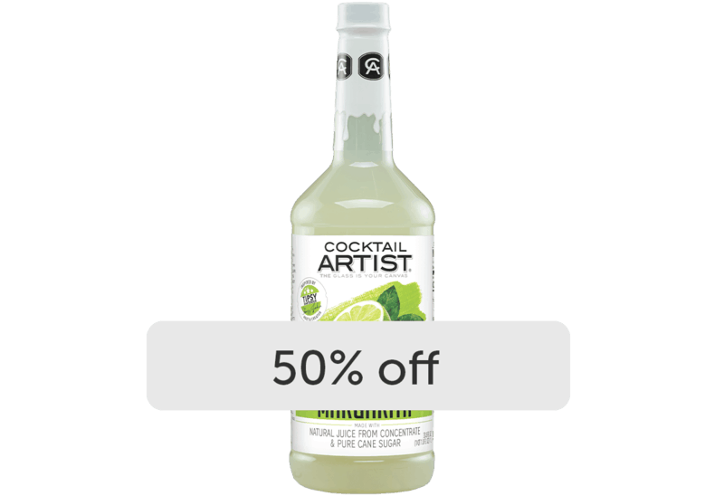 $2.00 for Cocktail Artist Premium Mixes. Offer available at Walmart, Walmart Pickup & Delivery.