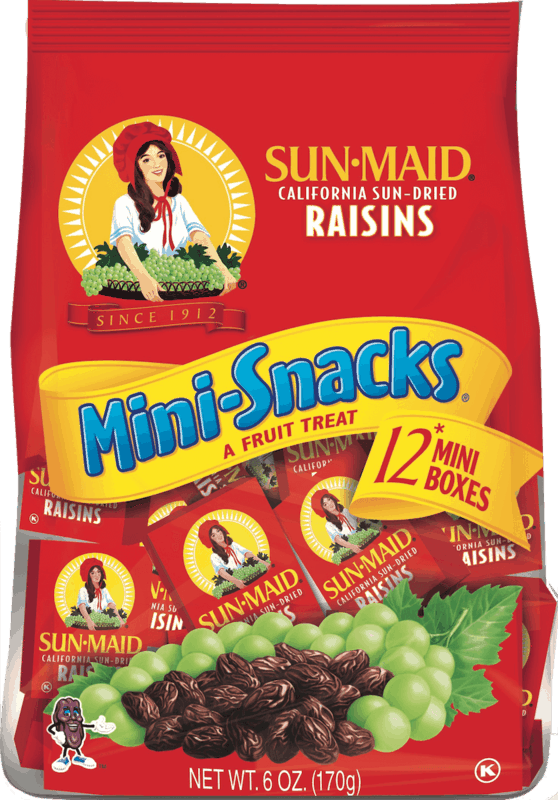 $0.50 for Sun-Maid Raisins Mini-Snacks (expiring on Sunday, 08/02/2020). Offer available at multiple stores.