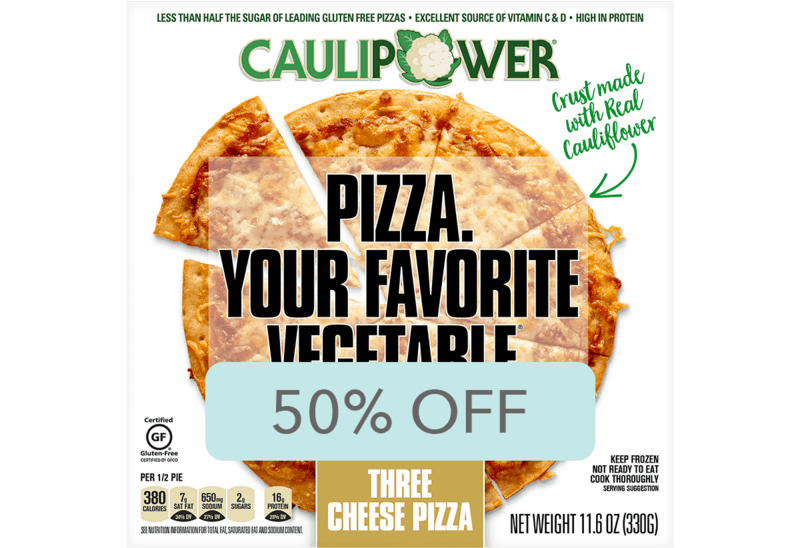 $3.49 for CAULIPOWER® Pizza (expiring on Thursday, 04/02/2020). Offer available at Wegmans.