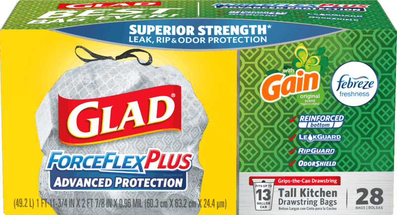 $2.00 for Glad® ForceFlexPlus Drawstring Trash Bags. Offer available at Walmart, Publix.