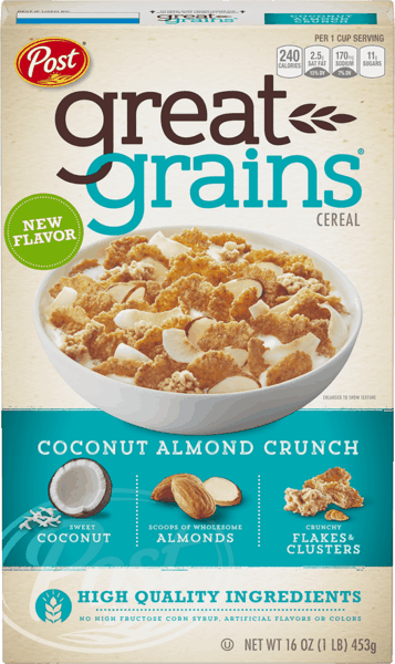 $1.00 for Post® Great Grains® Coconut Almond Crunch Cereal (expiring on Thursday, 03/01/2018). Offer available at Walmart.