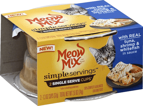$0.50 for Meow Mix® Simple Servings™ 2-pack Wet Cat Food Products (expiring on Thursday, 08/02/2018). Offer available at multiple stores.