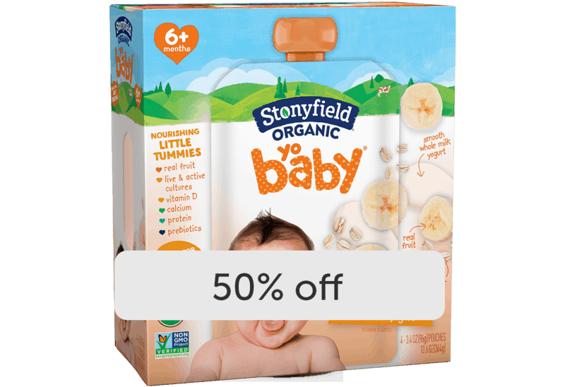 $2.99 for Stonyfield® Organic YoBaby® Yogurt Pouches Multipack. Offer available at multiple stores.