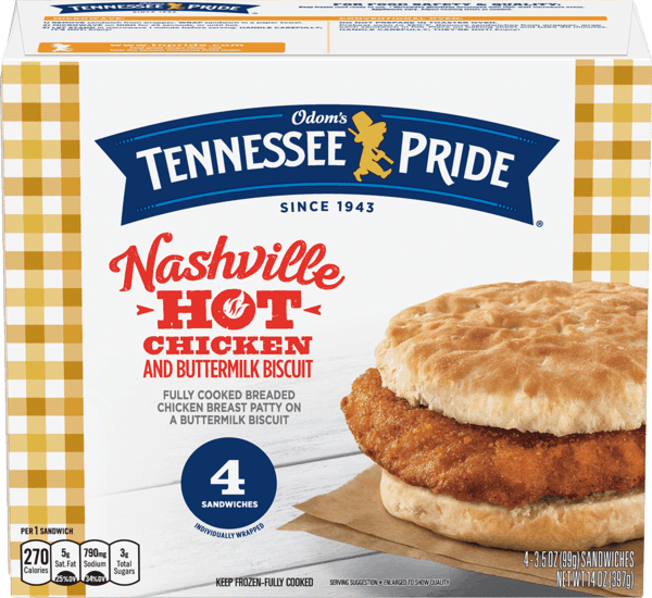 $1.00 for Odom's Tennessee Pride® Nashville Hot Breakfast Sandwiches (expiring on Monday, 12/02/2019). Offer available at multiple stores.