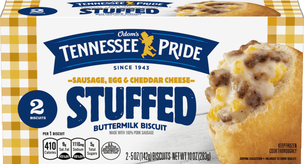 $0.75 for Odom's Tennessee Pride® Stuffed Biscuits (expiring on Wednesday, 10/02/2019). Offer available at Walmart.