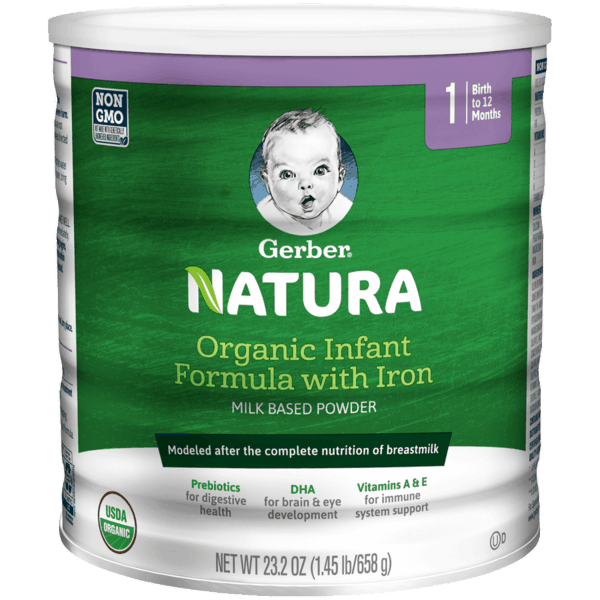 $7.00 for Gerber® Natura Organic Infant Formula with Iron (expiring on Friday, 08/02/2019). Offer available at multiple stores.
