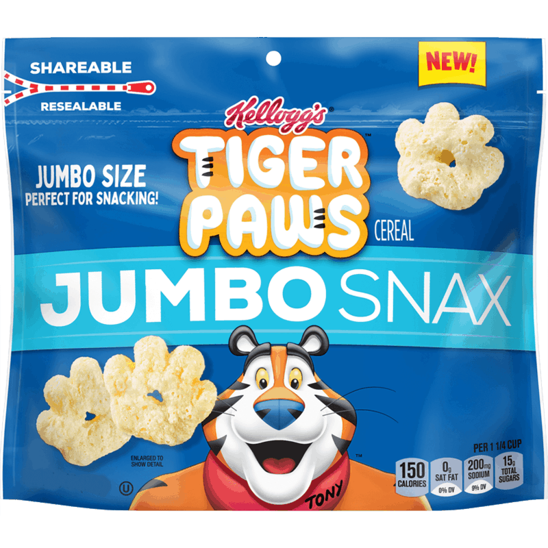 $2.00 for Kellogg's Tiger Paws Jumbo Snax. Offer available at Walmart, Walmart Pickup & Delivery.