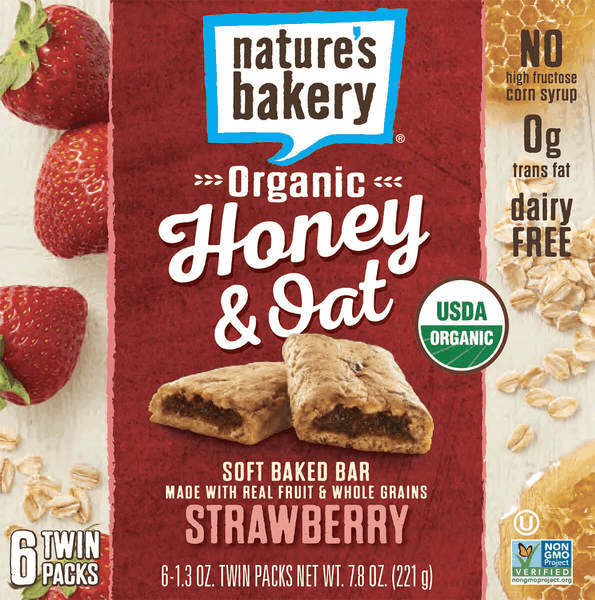 $1.00 for Nature's Bakery® Organic Honey & Oat Bars. Offer available at Walmart.