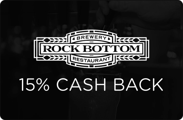 $0.00 for 15% cash back at Rock Bottom Restaurant & Brewery (expiring on Wednesday, 02/28/2018). Offer available at Rock Bottom Brewery.