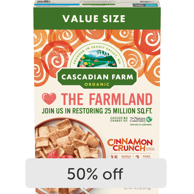 $2.25 for Cascadian Farms Value Size Cereal (expiring on Monday, 08/23/2021). Offer available at Walmart, Walmart Pickup & Delivery.