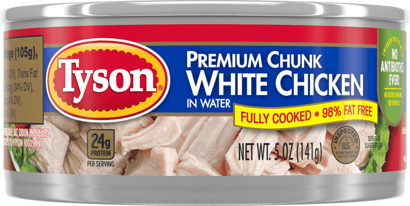 $0.50 for Tyson® Premium Chunk White Chicken (expiring on Friday, 09/10/2021). Offer available at Walmart, Walmart Pickup & Delivery.